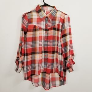 Paper Crane Sheer Plaid High Low Western Inspired